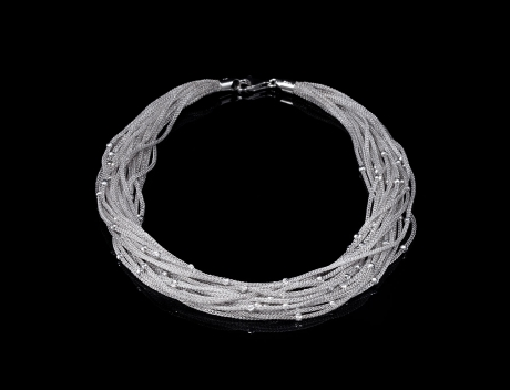Designer necklace crafted in Italy from rhodium plated sterling silver