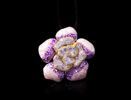 Designer Silver Jewellery, Exclusive Mosaic Design Violet Brooch Pendant