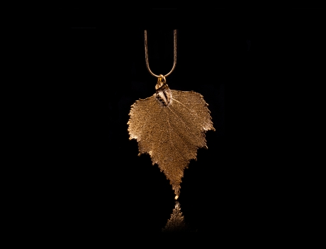 Designer Natural Fashion Jewellery, Classique Handcrafted Gold Birch Leaf Necklace
