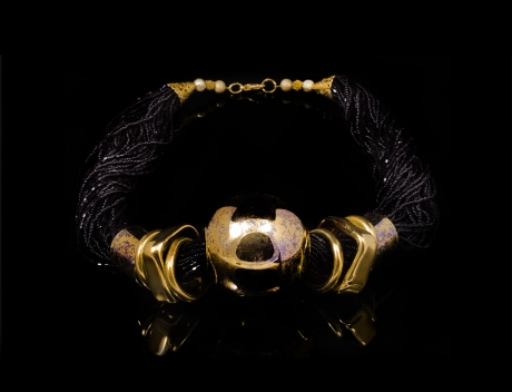 Murano Glass Neck Piece, Gold Elements, Black Murano Necklace
