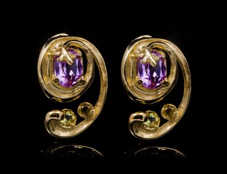 Luxury Designer Gemstone Gold Earrings