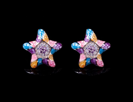 Exclusive Silver Jewellery, Colourful Mosaic Design Stud Earrings