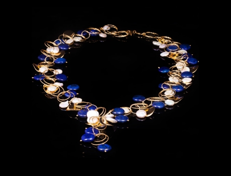 Designer Gemstone Jewellery, Exclusive Gold Lapis Necklace Jewel by Luisa Della Salda