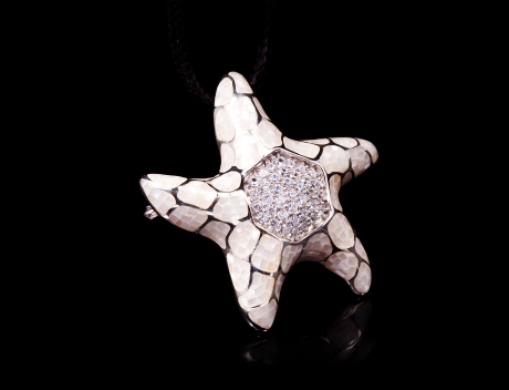 Exclusive Silver Jewellery, Designer White Mosaic Design Brooch Pendant