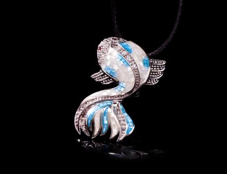 Unique Silver Jewellery, Designer Fish Pendant Brooch, Mosaic Designer Jewelry