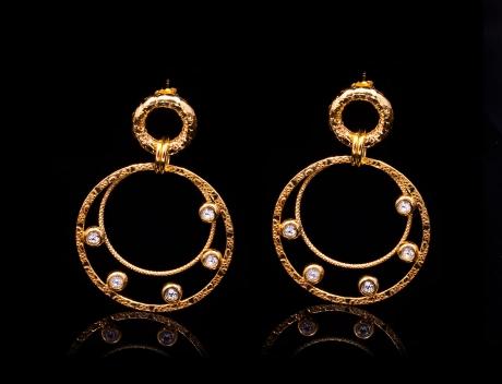 Stylish Italian Gold Vermeil Jewellery Earrings With Swarovski Crystals