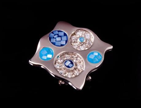 Designer Silver Jewellery, Exclusive Blue Mosaic Design Brooch Pendant
