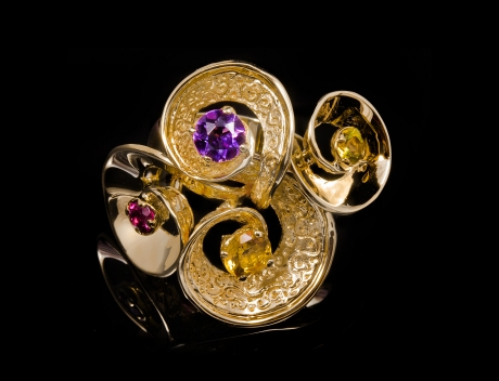 Luxury Designer Gold Gemstones Ring Jewellery