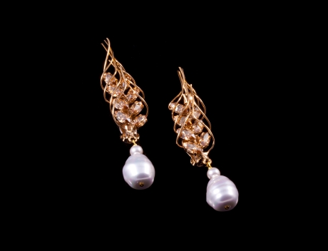 Exclusive Fashion Marianne Swarovski Pearl Earrings By French Jewellery Designer Philippe Ferrandis