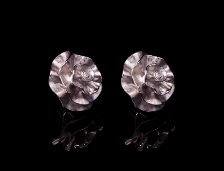 Unique Designer Silver Carnation Stud Earrings