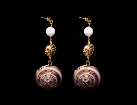 Designer Brown Shell Drop Earrings Jewellery By Italian Designer Luisa Della Salda