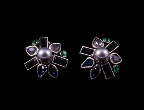 Exclusive High Fashion Swarovski Earrings By French Jewellery Designer Philippe Ferrandis
