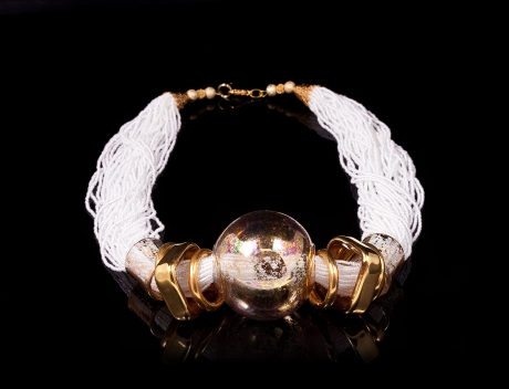 Artistic Italian Designer Murano Glass Jewellery, Exclusive Snowy Glass Necklace
