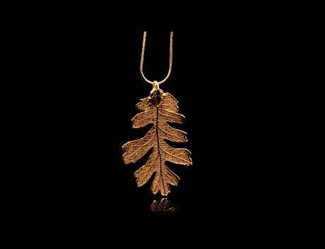 Designer Natural Fashion Jewellery, Classique Handcrafted Gold Oak Leaf Necklace