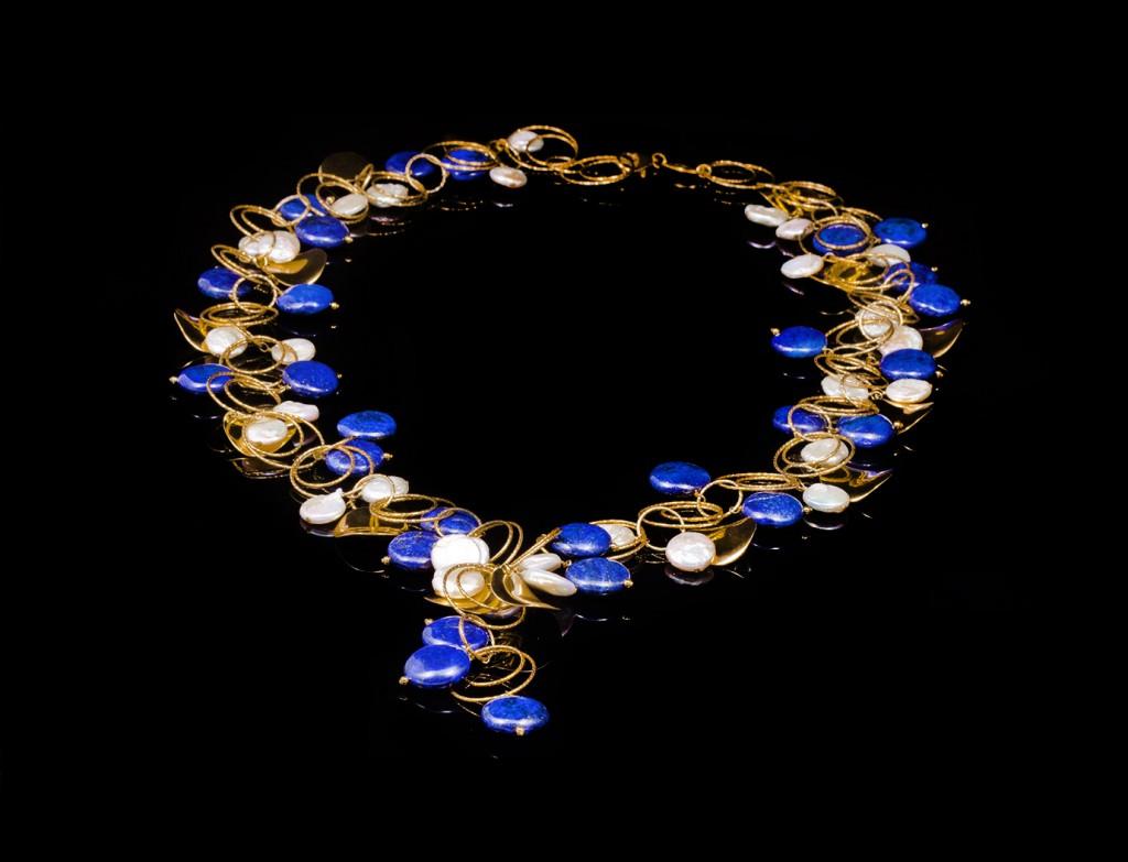 Designer Gold Lapis Necklace