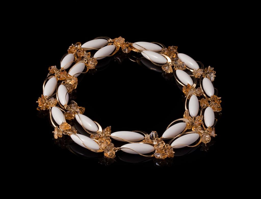 Designer Gold Citrine Necklace