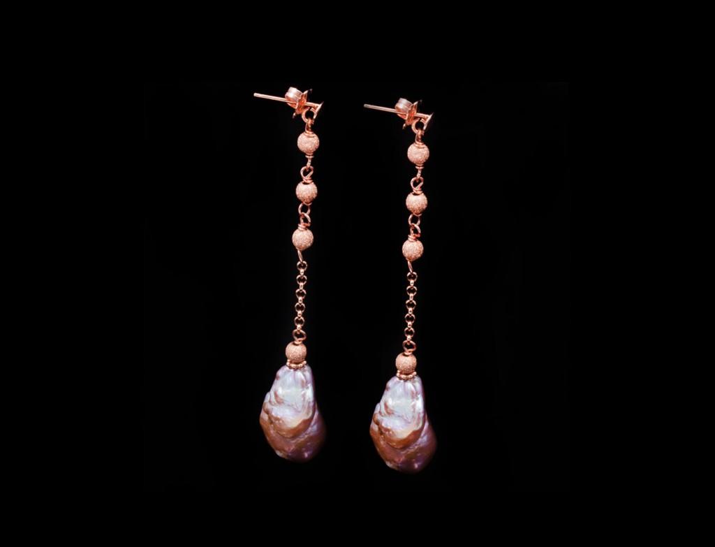 Del Lago Pink Gold Pearl Drop Earrings