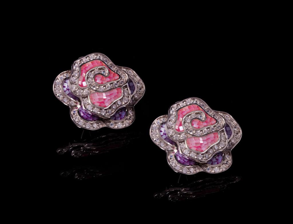 Oceania Pink Rosette Earrings