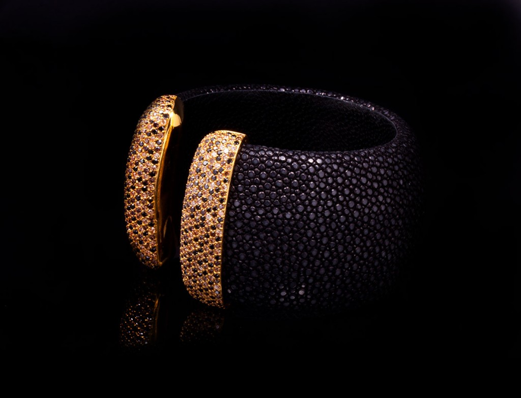 Byzantium Brownstone Leather Cuff Jewel
